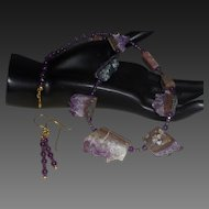 Hand Stung Amethyst Quartz Necklace with Earrings