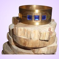 Vintage Deco Brass Bangle with Blue Rhinestones