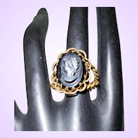 Clearance - Signed West Germany Brass and French Jet Cameo Ring