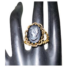 Signed West Germany Brass and French Jet Cameo Ring