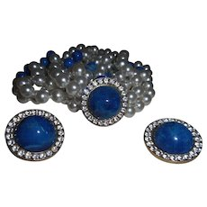 Vintage Double Strand of Faux Pearls and Lapis with Earrings