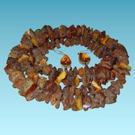 Vintage Natural Baltic Amber Necklace with Earrings