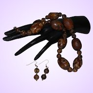 Artisan Created Antique Dzi Bead Necklace with Matching Earrings