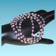 Vintage Amethyst and Clear Crystal Necklace with Sterling Silver Clasp