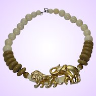 1960's Early Plastic Necklace In Safari Style