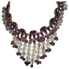 Vintage Juliana Bib Style Necklace in Amethyst and Crystal Rhinestones