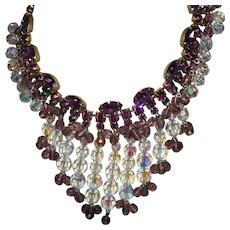 Vintage Juliana Bib Style Necklace in Amethyst and Crystal Rhinestones