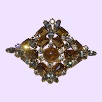 Vintage Brooch/Pendant with Root Beer Colored Glass Stones