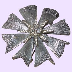 Signed BSK Flower Design Brooch with Rhinestone Center