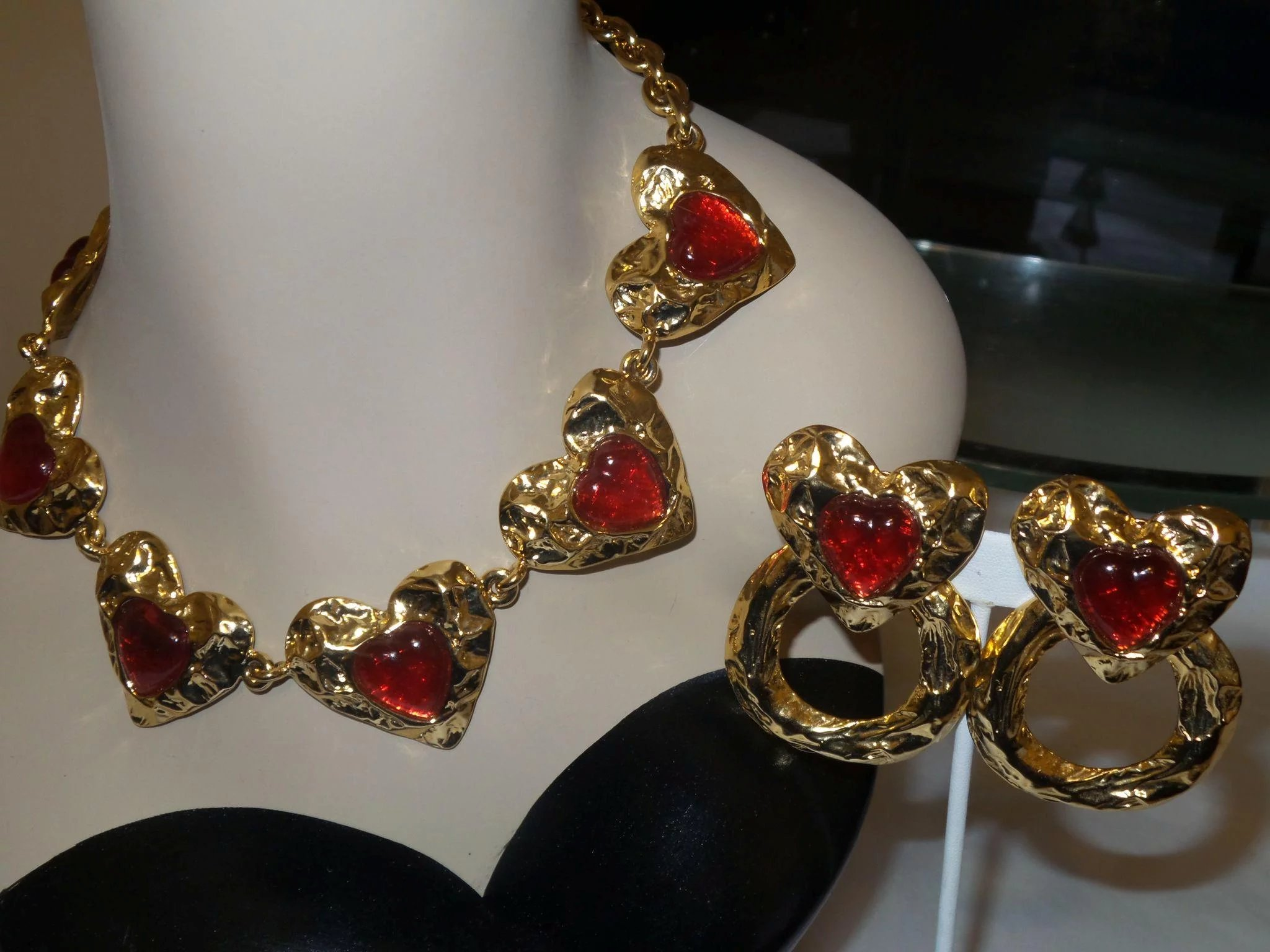 Signed Les Bernard For Vogue Runway Red Heart Necklace and Earrings : NOLA Pearl Girls | Ruby Lane