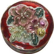 Vintage Red Cloisonne Enamel Gold Tone Trinket Box With Faux Pearls and Flowers