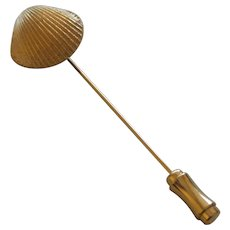 Vintage Signed Trifari Gold Tone Shell Stickpin