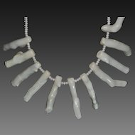 Hand Strung White Long Branch Coral and Crystal Necklace