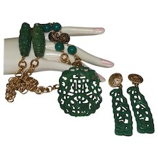 Vintage Faux Green Jade Necklace/Earrings