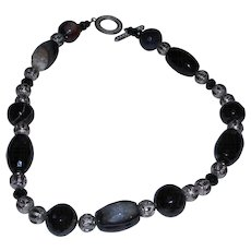 Hand Strung Drusy Agate, Bandied Agate, Onyx and Bali Silver Necklace