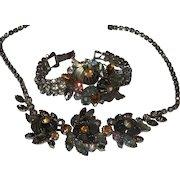 Vintage Signed Edlee Art Glass Necklace and Bracelet Set