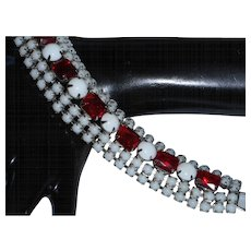 Unsigned Weiss Five Row Milk Glass Bracelet with Ruby Red Emerald Cut Rhinestones