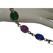 Egyptian Revival, Vintage Incised Glass Scarab Bracelet with Hieroglyphs
