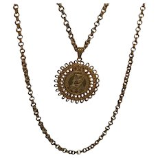 """Vintage """"Napoleonic"""" Miriam Haskell Faux Coin Necklace"""