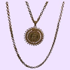 """Clearance - Vintage """"Napoleonic"""" Miriam Haskell Faux Coin Necklace"""