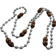 Vintage Signed Miriam Haskell White Milk Glass Beads and Faux Coral Necklace