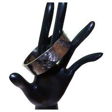 Sterling Silver Hinged Bangle Bracelet - Etched Floral Design
