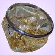 Marked 925 Thin Hinged Silver Bangle Bracelet