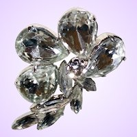 Vintage Floral Design Brooch with Large Pear and Navette Faceted Rhinestones