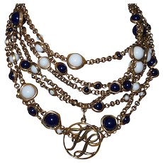 Signed  Karl Lagerfeld Vintage Seven Strand  Necklace with Blue and White Glass Beads