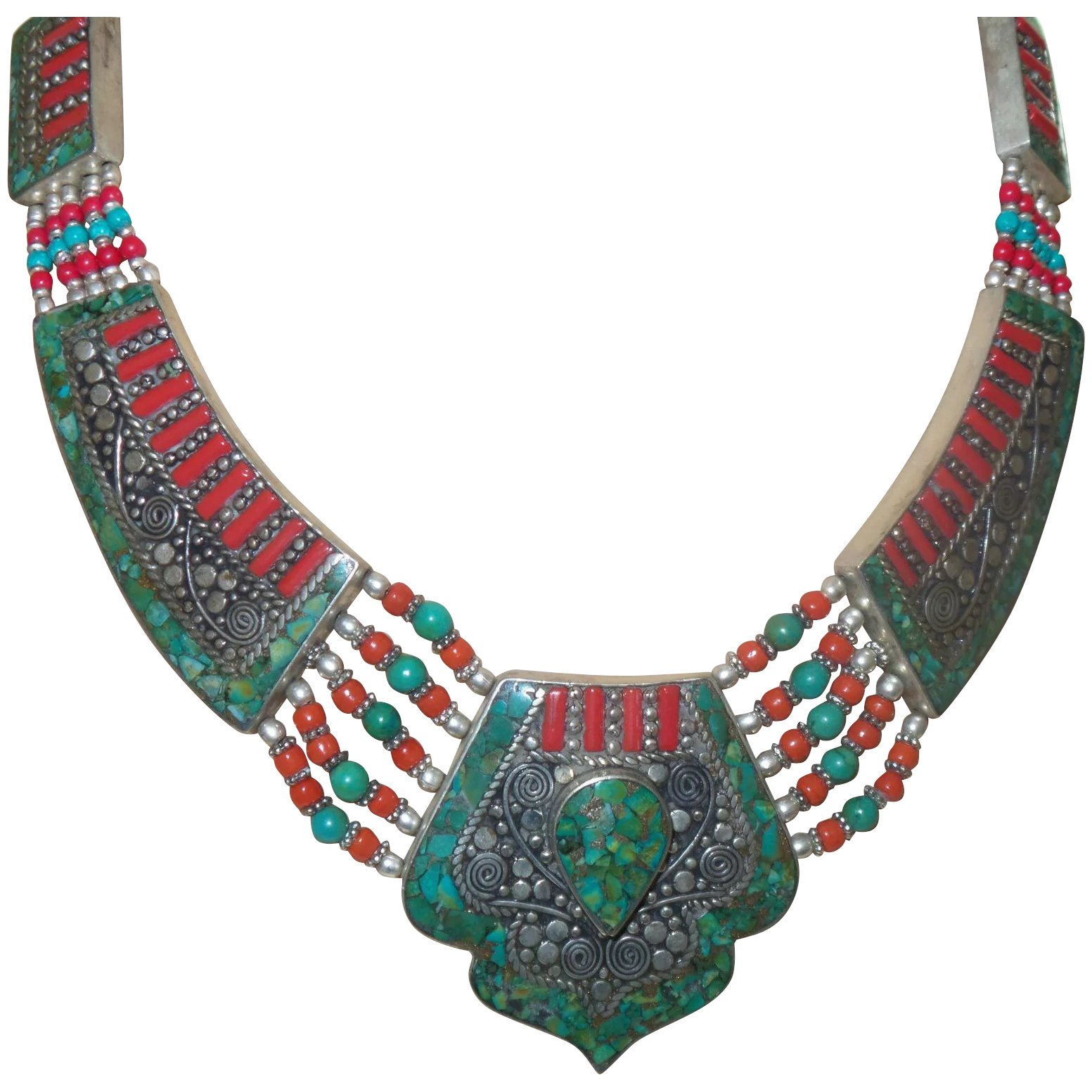 """35.43/"""" Collection Tibet old Seven colors coloured glaze(Liuli)beads Necklace"""