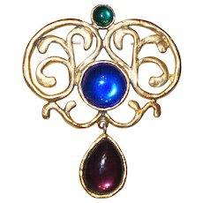 Signed Carol Dauplaise Brooch With Glass Cabochon