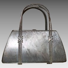 Vintage Metal Signed Rodo Evening Bag with Rhinestone Trim