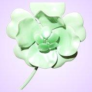 Vintage Early Plastic Flower Brooch/Earrings In Bright Green
