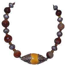 Artisan Created Brazilian Agate and Bali Silver Necklace with Baltic Butterscotch Amber Pendant