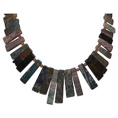 artisan Created Mixed Color Jasper Stick Necklace and Earrings