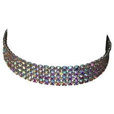 Signed Miriam Haskell Four Row Brilliant Aurora Borealis Crystal Choker