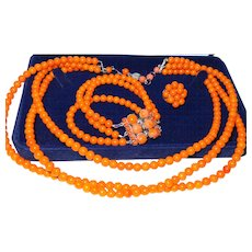 Signed Christian Dior Demi-Parure In Faux Orange Coral