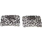 Vintage  Art Deco Shoe Clips in Pewter Color Metal