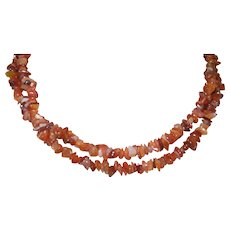 Vintage natural Gemstone of a Single Strand Of Carnelian Chips