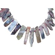 Artisan Created Natural Gemstone Necklace From Long Chip Rhodochrosite