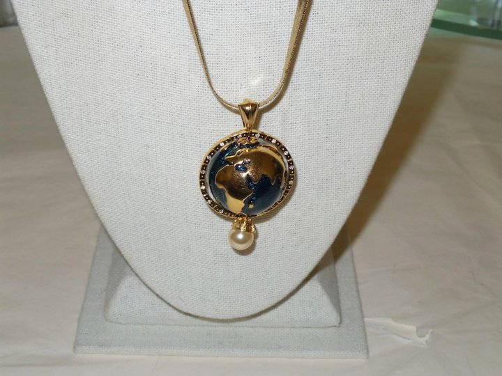 Signed kjl world globe necklace which is part of his world peace signed kjl world globe necklace which is part of his world peace collection aloadofball Image collections