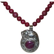Artisan Created Natural Faceted African Ruby Necklace with Nepal Pendant with Earrings