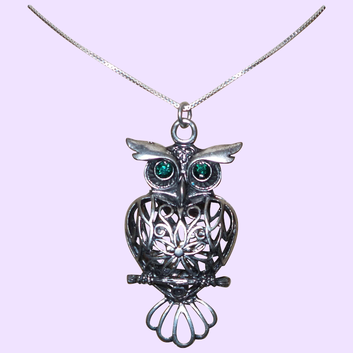 Filigree Owl Pendant Necklace