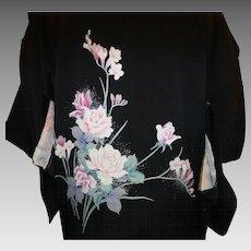 Vintage Haroi Kimono in Black Silk Crepe
