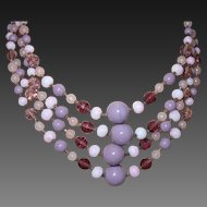 Vintage Signed Miriam Haskell Necklace In Amethyst Colored Glass With Rosette Flower Closure