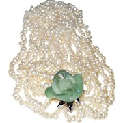 Signed Kenneth Jay Lane Faux Jade and Pearl Flower Necklace