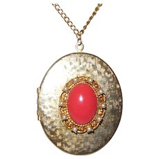 Vintage Locket Necklace with a Faux Coral Cabochon Surrounded By Faux Seed Pearls