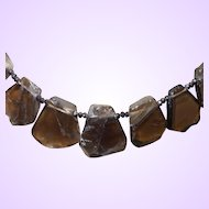 Artisan Created Natural Semi Precious Chunky Smokey Quartz Slab Statement Necklace