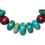 Artisan Created Large African Turquoise Necklace with Wooden Beads