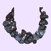 Artisan Created Grey Mother of Pearl Shell Necklace with Silver Plate Clasp
